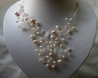 Freshwater Pearls and Quartz Necklace, Nature Inspired.