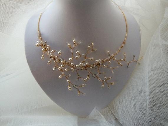 A dream comes true - SAMPLE SALE - Love Letter /4, vine branches pearly bridal necklace