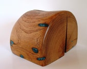 Mesquite wood bookends with turquoise inlay