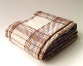 vintage Ivory and Taupe Plaid Woolen Scarf