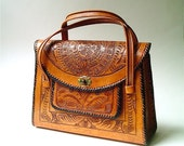 50s vintage Mexican Hand Tooled Saddle Brown Leather Purse
