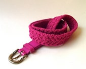 vintage Vibrant Raspberry Woven Cotton and Leather Belt