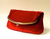 Festive vintage Red Velvet Fold Over Clutch