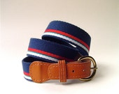 vintage Navy Blue Striped Woven Fabric and Leather Belt