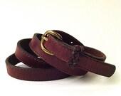 Rustic vintage Narrow Dark Brown Leather Belt - SkinnyandBernie