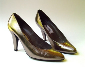 80s vintage Van Eli Metallic Bronze Leather Stilettos