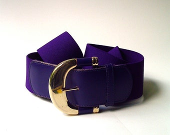 80s vintage Wide Dark Purple Elasticized Cinch Belt