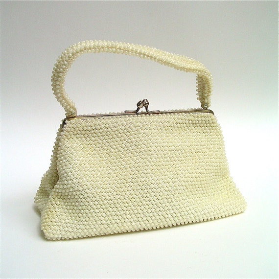 vintage ivory corde beaded purse