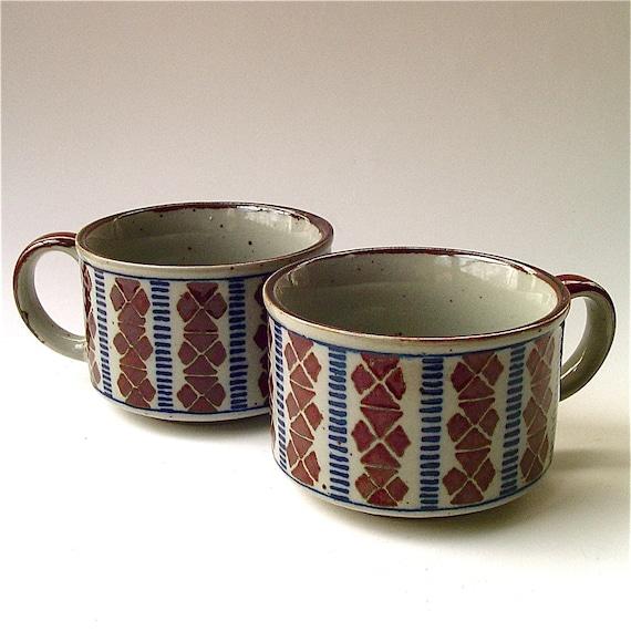70s vintage Block Print Stoneware Soup Mugs