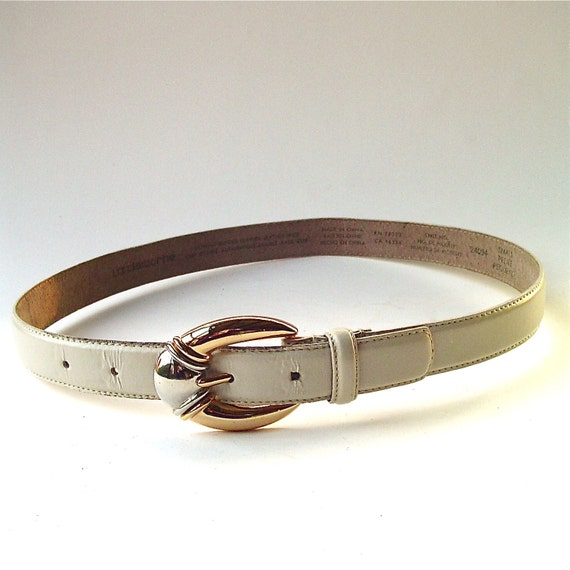 90s vintage Liz Claiborne Ivory Leather Belt with Gold and Silver metal Buckle