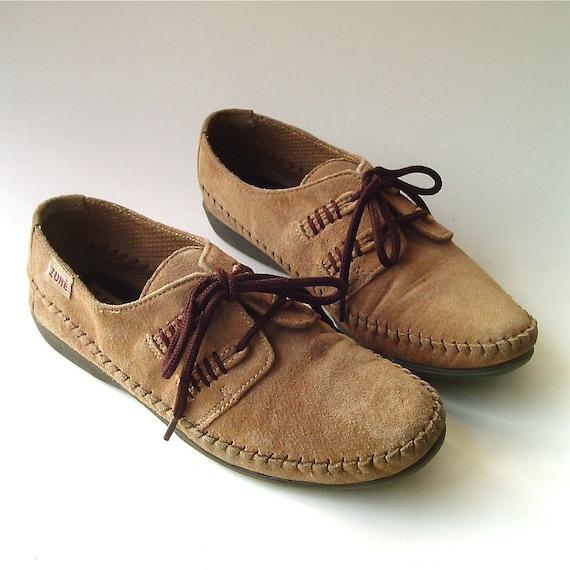 vintage Tan Suede Wedge Heel Moccasins
