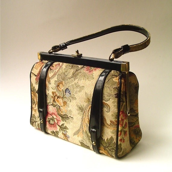 R e s e r v e d..............................vintage Floral Tapestry Fabric Handbag
