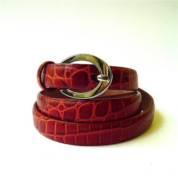Narrow vintage Reptile Embossed Cranberry Red Leather Belt