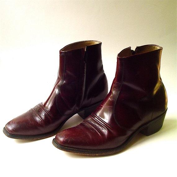 vintage Men's Distressed Dark Cordovan Leather Ankle Cowboy Boots