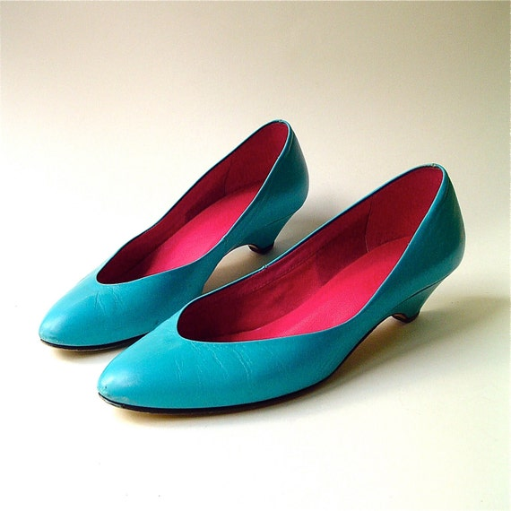 80s vintage Turquoise Leather Mini Wedge Heel Pumps