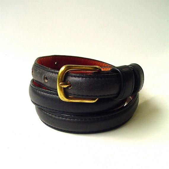 vintage Coach Distressed Navy Blue Leather Belt