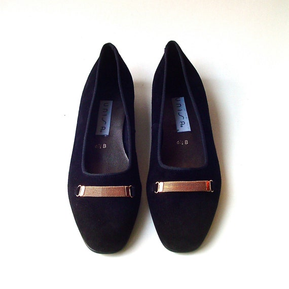 vintage Unisa Black Suede Ballet Flats with Gold Mesh Bands