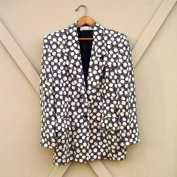 80s vintage Anne Klein Floral Print Silk Blazer