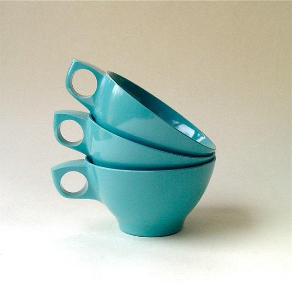 vintage Melmac Boontonware Aqua Blue Coffee Cups