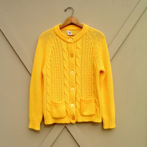 vintage Canary Yellow Acrylic Cable Knit Cardigan Sweater