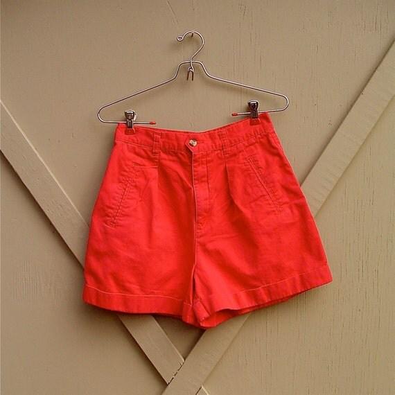 80s vintage Red Cotton High Waist Shorts