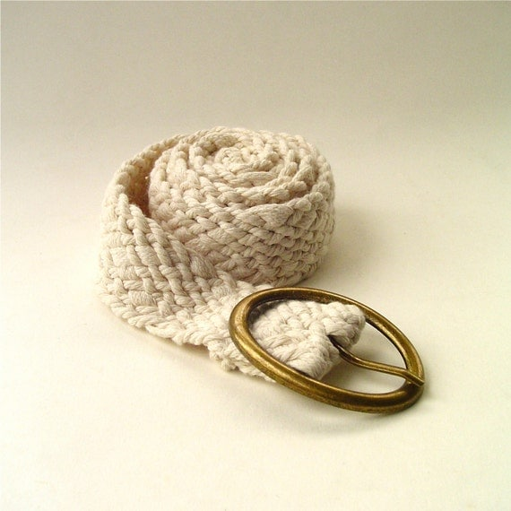 vintage Ivory White Woven Cotton Cinch Belt
