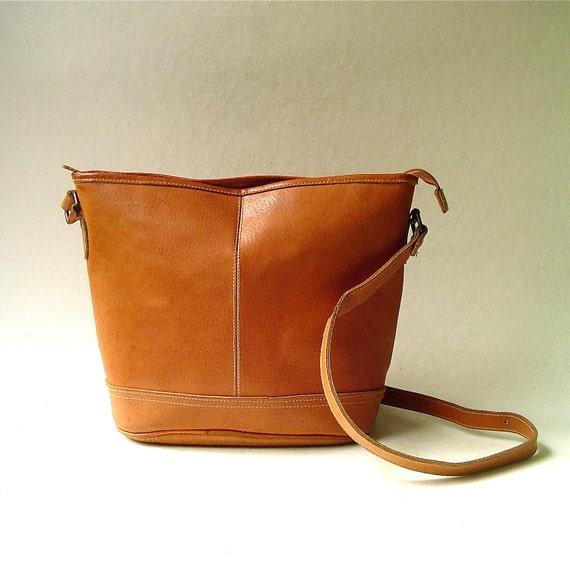 vintage Distressed Caramel Brown Leather Bucket Bag