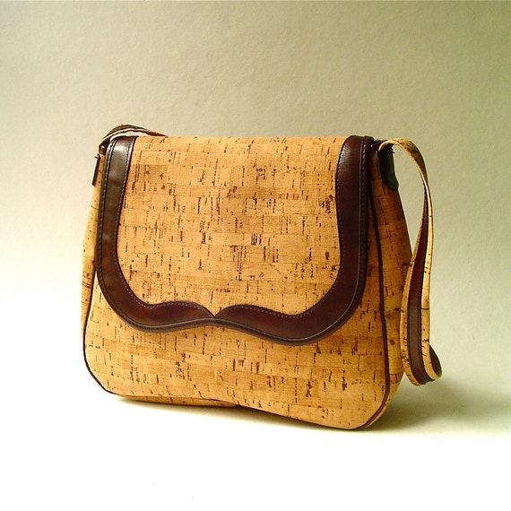 vintage Cork Fabric Purse with Brown Leather Trim