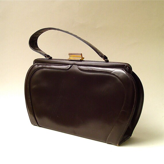 Mod vintage Espresso Brown Leather Handbag