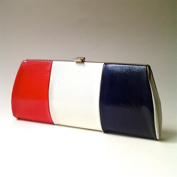 Mod vintage Red, White and Blue Faux Leather Purse
