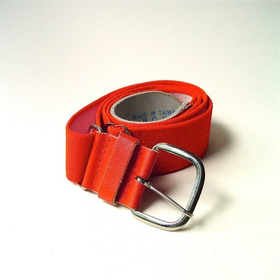 vintage Neon Orange Elastic and Leather Cinch Belt
