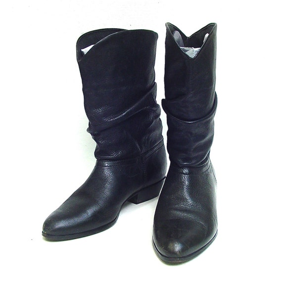 vintage western slouch black leather boots