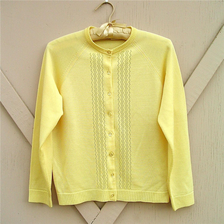 vintage Lemon Yellow Cardigan Sweater