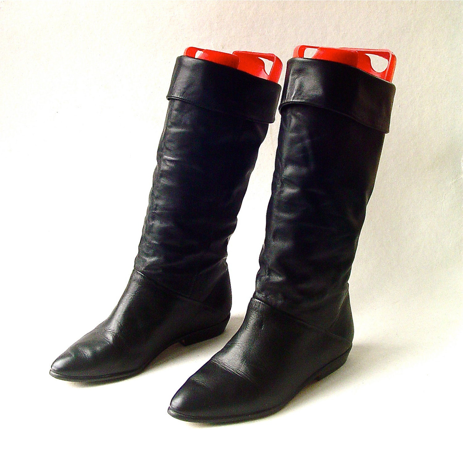 80s vintage black leather slouch boots
