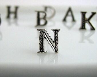 Silver initial stud earrings, alphabet earring post, sterling silver, 925 sterling silver posts, monogram earrings, initial earrings, N