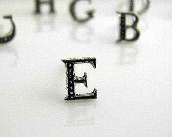 Men's stud earrings, alphabet letter E stud earring, silver stud earrings, initials stud earrings, earrings for men, letter stud earrings, E