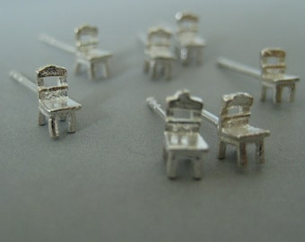 Take a seat stud earrings, tiny chair sterling silver stud earrings, silver post stud earrings, 463