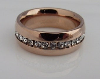 Diamond Eternity Band - White Diamond CZ Stack Ring - Wide Band - Stainless Steel - Pink Rose Gold Band Color (no.309A)