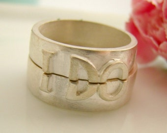 Silver Wedding Band Set - For men and women - 925 Sterling Silver Ring - Customized (I DO)