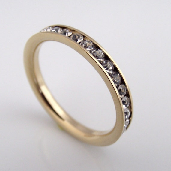 Diamond Eternity Band - White Diamond CZ Stack Ring- Stainless Steel - Yellow Gold Band Color (no.301B)