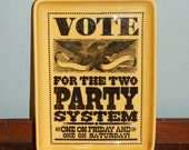 Retro Political Novelty Tray, VOTE, Two Party System