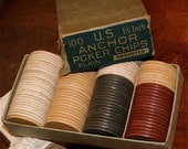 Mid Century  U.S. Anchor Clay Poker Chips Red, White and Blue