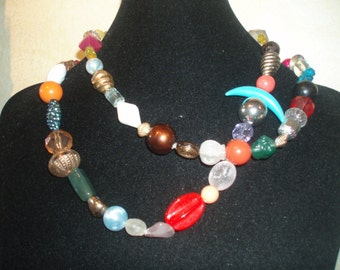 Funky Fantasy  Colorful Vintage Beaded Necklace