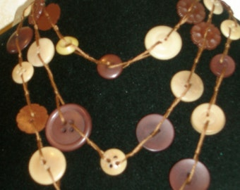 Vintage Buttons of Brown and Bone Necklace