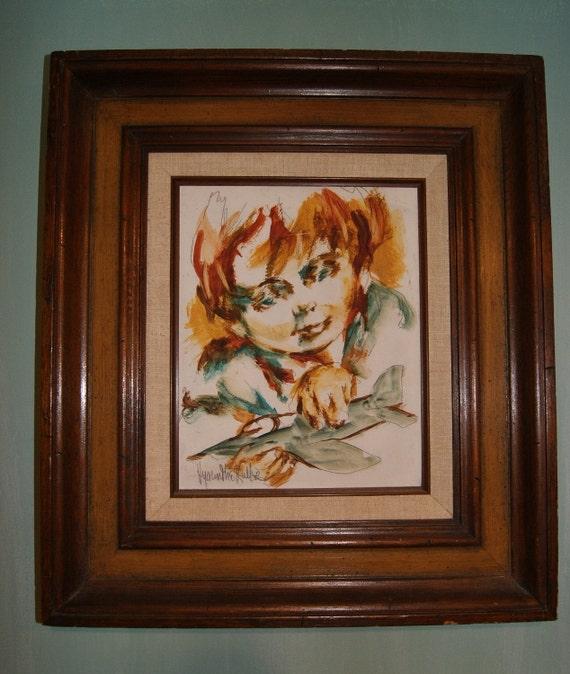 SALE  Hyacinthe Kuller-Baron Original Painting Boy with Plane