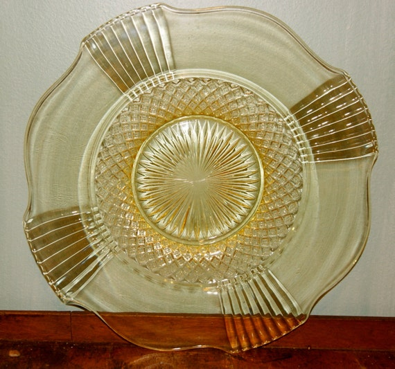 Rare yellow depression glass platter by endlesstreasuresnj for Most valuable depression glass patterns