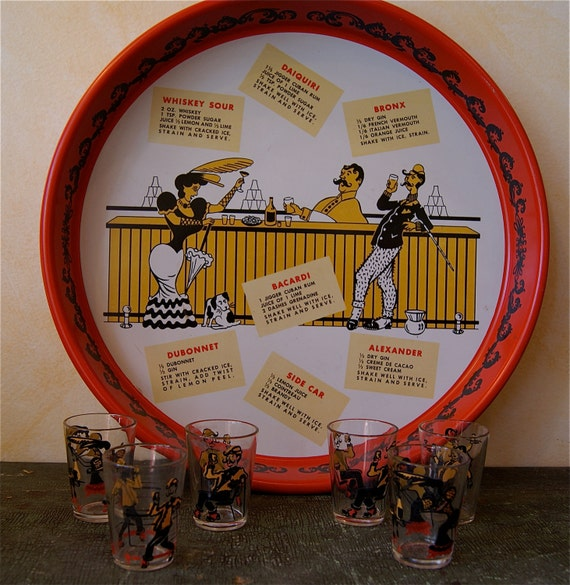 Retro Bar Tray and Shot Glass set with Victorian Cartoons and Drin Recipes