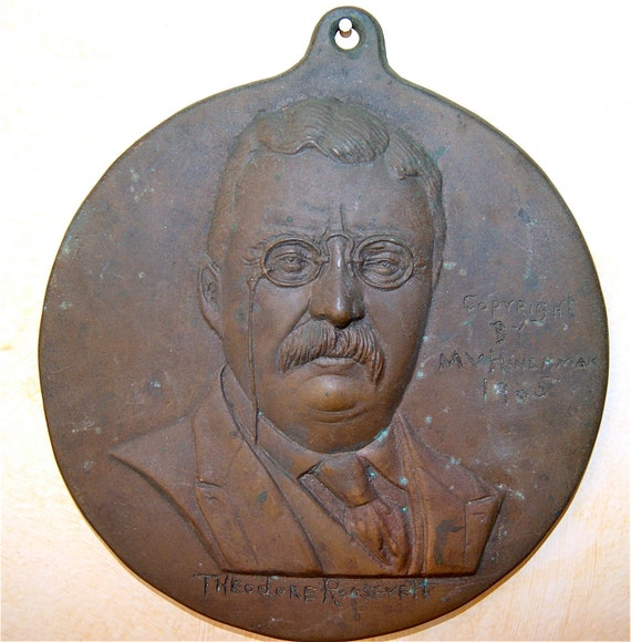 Antique Theodore Roosevelt Portrait Bronze Releif Plaque