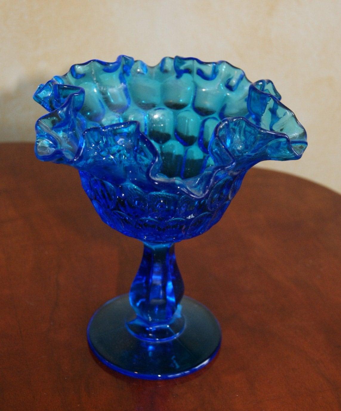 Fenton Peacock Blue Depression Glass Compote