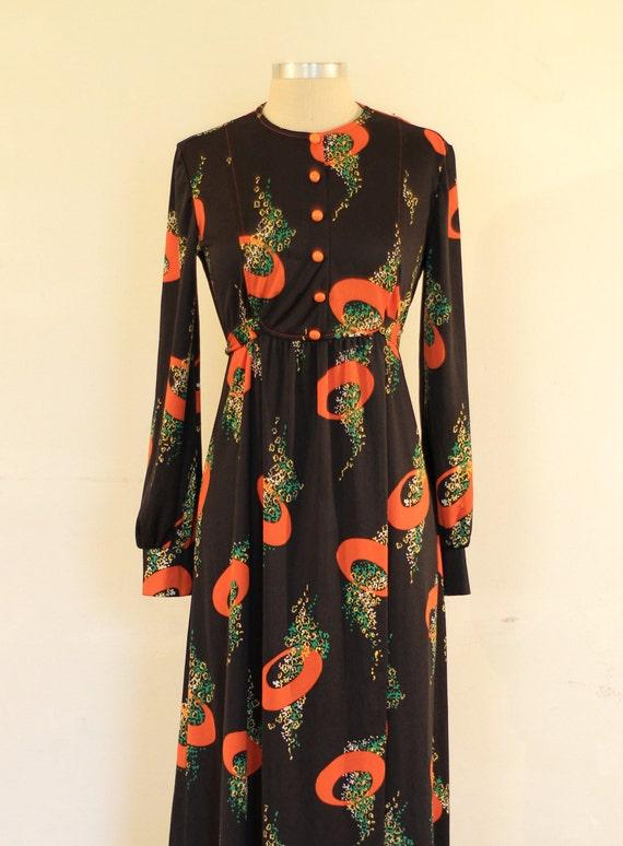 Flower Spray Vintage Printed Maxi Dress